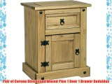 Pair of Corona Distressed Waxed Pine 1 Door 1 Drawer Bedsides