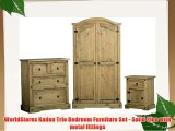 WorldStores Kaden Trio Bedroom Furniture Set - Solid Pine with metal fittings
