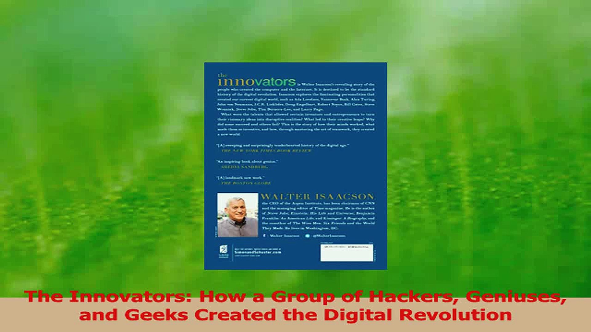 PDF Download The Innovators How a Group of Hackers Geniuses and Geeks  Created the Digital Revolution Read Full Ebook