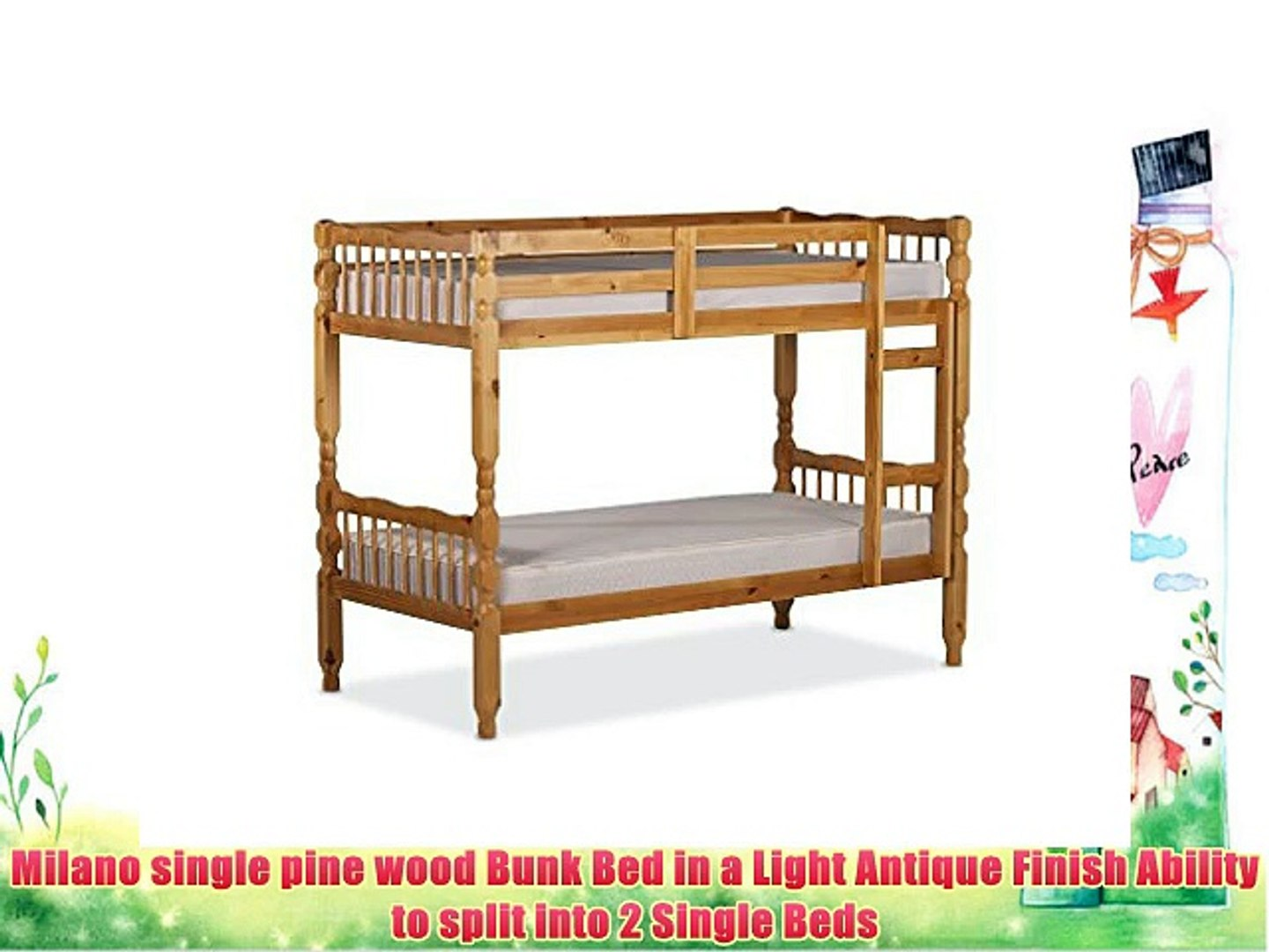 Milano Single 3'0 Ft Pine Bunk Bed (with 2 Single Economy Mattresses)
