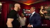 Mr. McMahon gives pre match instructions to Roman Reigns and Sheamus Raw, January 4, 2016
