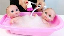 Lits jumeaux Bébé Poupées Bathtime Lil Cutesies de Bébés Baignoire w/ Douche Comment faire pour salle de Bain dun Bébé Poupée Jouet Vid