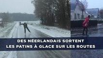 Des Néerlandais sortent les patins à glace sur les routes