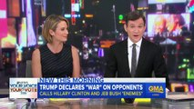 """Donald Trump Compares His Campaign With Hillary Clinton & Jeb Bush To """"War"""" & Calls Bill Clinton """"One Of The Greatest Abusers"""""""