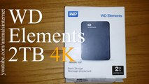 Western Digital WD External Hard Drive Disk HDD Elements 2.5'' 2TB. Windows 10 comp. Unboxing 4k UHD