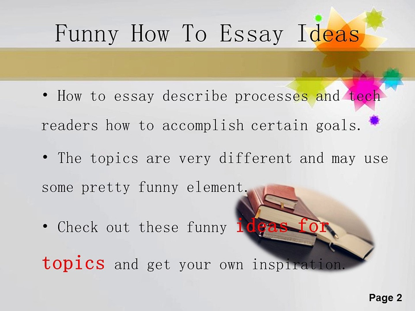 Funny photo essay ideas proposed business plan format