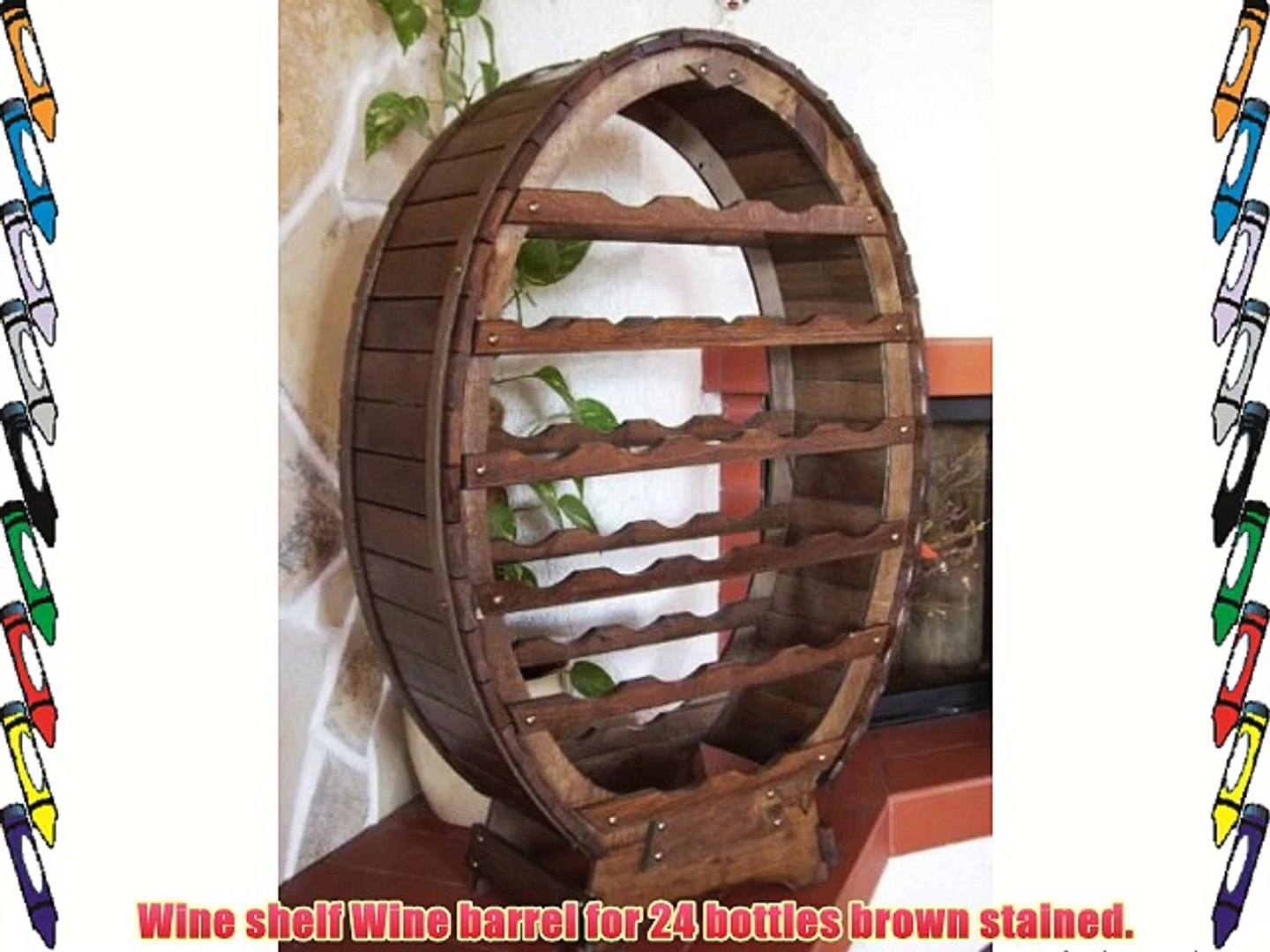 Wine rack Wine barrel for 24 bottles brown stained Bar Bottle stand Barrel Bottle holder