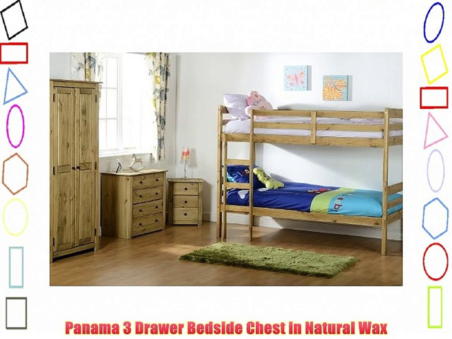 Panama 3 Drawer Bedside Chest in Natural Wax Solid Pine Wood Bedroom Furniture