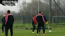 Wayne Rooney Nutmegs David Moyes During Manchester United Training