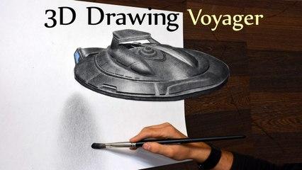 Star Trek NCC Atlas Voyager 3D Drawing/ Optical Illusion