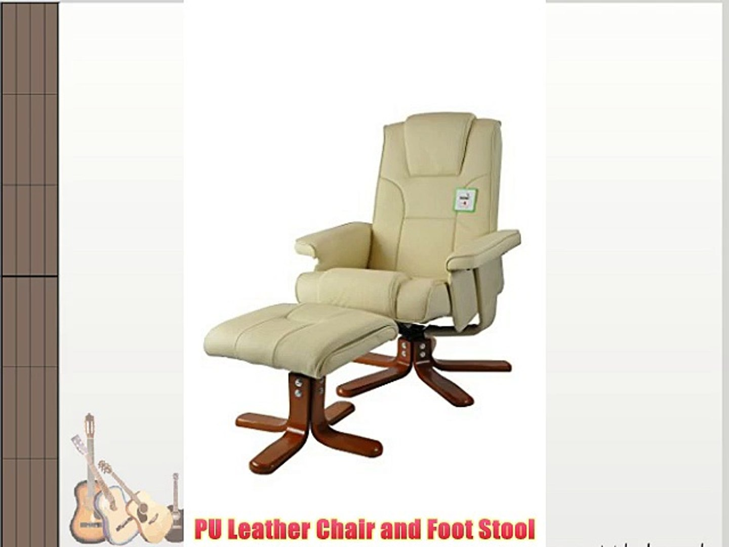Incredible Pu Leather Reclining Office Desk Computer Chair With Foot Stool Beige Ibusinesslaw Wood Chair Design Ideas Ibusinesslaworg