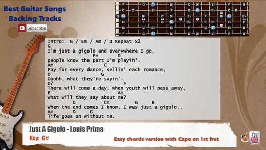 Just a Gigolo - Louis Prima Guitar Backing Track with scale, chords and  lyrics