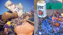 Minnesota Vikings Fan Chugs Frozen Beer, Warms Beer Up To Keep From Freezing