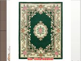 Flair Rugs Lotus Premium Aubusson Traditional 100% Wool Round Rug Bottle Green 120 Cm