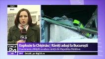 Trei răniţi în expozia care a avut loc ieri într-o cantină din Chişinău, au fost aduşi în București, unde vor fi trataţi la Spitalul de Arsuri. O aeronavă militară românească a aterizat Bucureşti, la Baza militară 90.