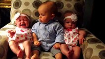 Adorably confused baby meets twins kirancollections