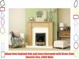 Adam New England Oak and Ivory Surround with Brass Elan Electric Fire 2000 Watt