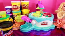 Frozen Fever Annas Birthday Party Play Doh Cake Elsa Olaf Kristoff Hans Barbie Parody Toy
