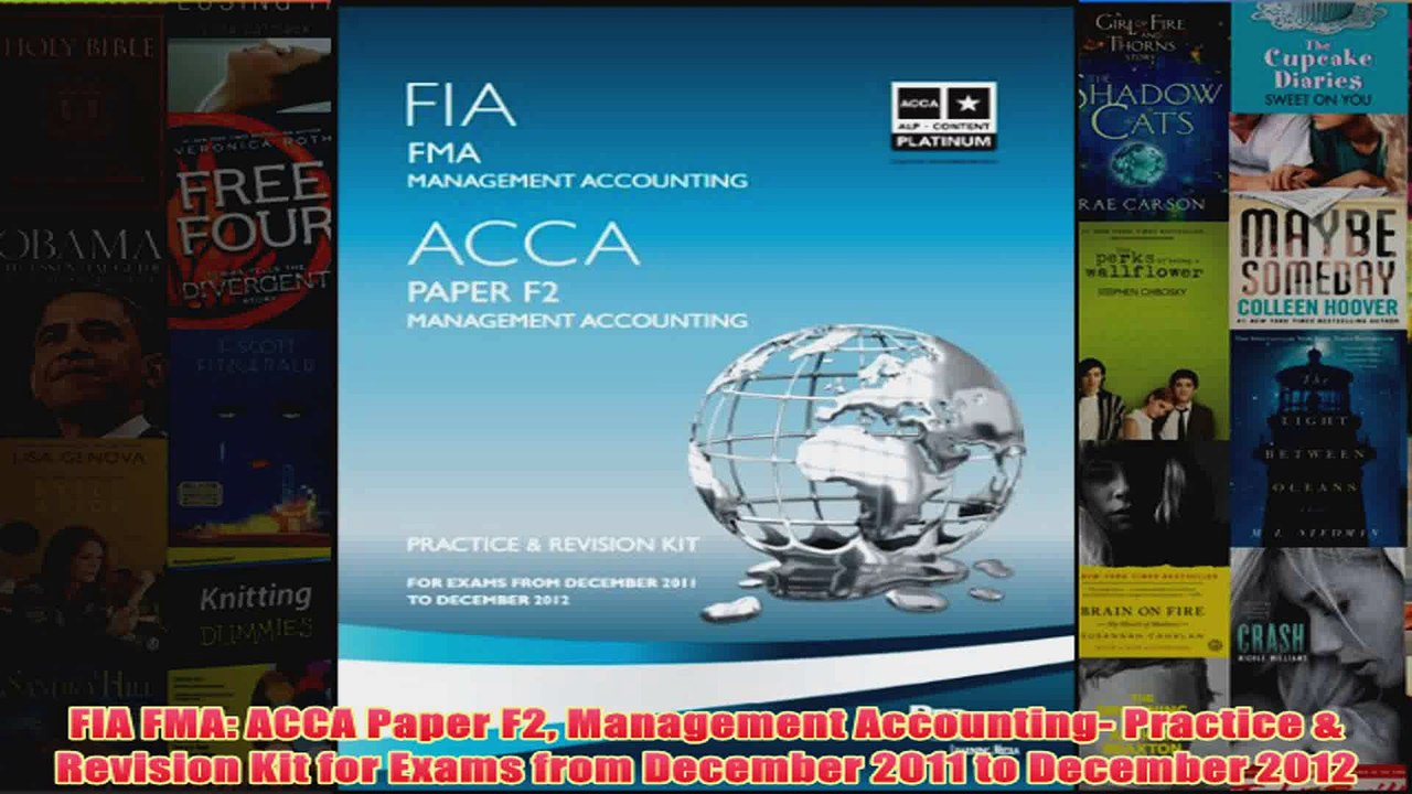 FIA FMA ACCA Paper F2 Management Accounting Practice Revision Kit for Exams  from