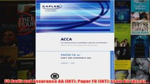 F8 Audit and Assurance AA INT Paper F8 INT Exam Kit Acca
