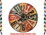 Large Retro Number Plate Multicoloured American Vintage Giant Wall Clock 74cm