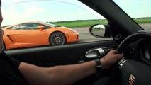 Porsche 911 Turbo Evotech vs Mercedes SLS vs Lamborghini LP 550 vs BMW M3 ESS