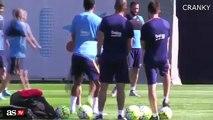 Neymar , Luis Suarez And Lionel Messi Having Fun In Barcelona Training 2015