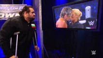 Lana Kisses Dolph Ziggler and Rusev Watches in backstage June 18, 2015