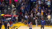 Stephen Curry Videobombs Dell Curry During Pregame   Hornets vs Warriors   Jan 4, 2016   NBA