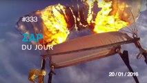 ZAP DU JOUR #333 : Un parachutiste enflamme son parachute en plein vol !