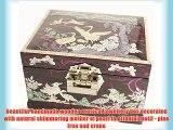 Musical Jewellery box handmade mother of pearl oriental gift. Purple Pine tree and crane
