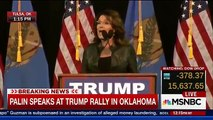 Sarah Palin Blames Obama Policies For Son's PTSD & Domestic Abuse Arrest at Donald Trump Rally