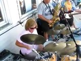 Mom is a Damn Maniac on the Drums plays wipe out fantastic drummer