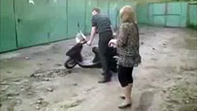 Drunk girl and scooter   Funny Video Russia - Fail 2015