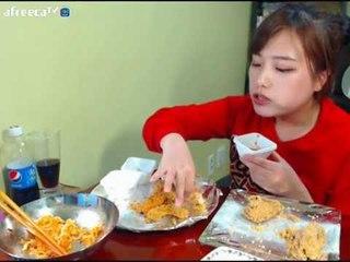 터민 네네치킨 스노윙 치즈맛+야채맛+팔도비빔면 먹방