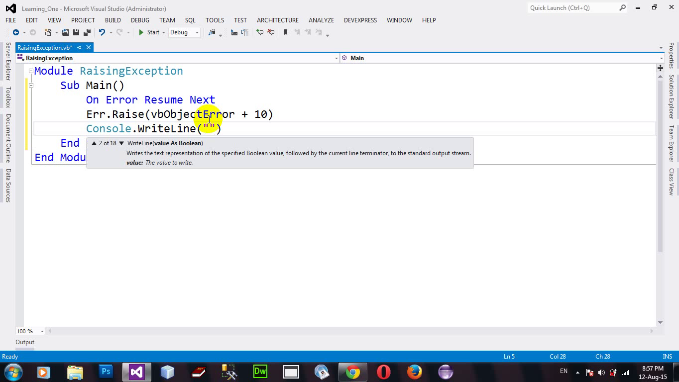 How to Raising an Exception Intentionally VB.NET 2012