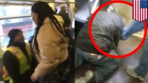 Subway rider attacks male companion of woman who spit in his face