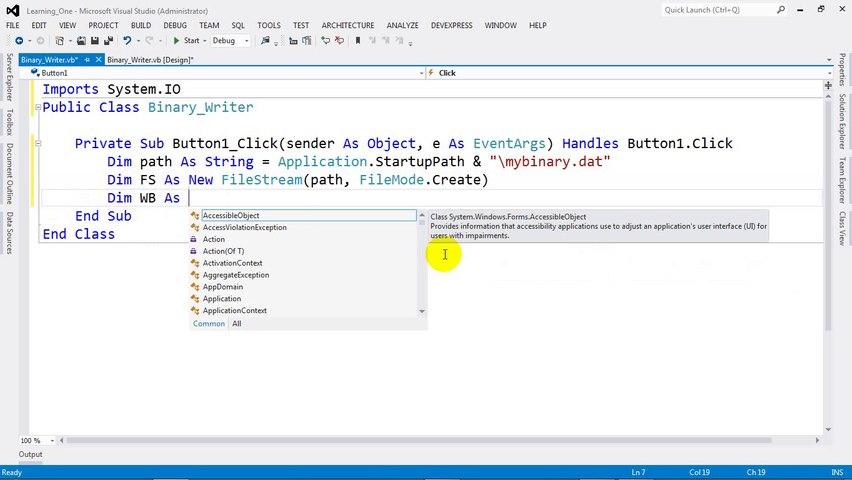 How to Write BinaryFile (BinaryWriter) in VB NET 2012