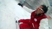 snowboarding on street