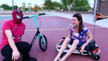 RAZOR GO KART & SCOOTER RACE With Spiderman and DisneyCarToys Sandra