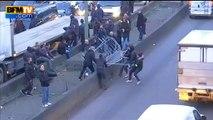 Grève des taxis: des barrières installées pour bloquer le trafic porte Maillot