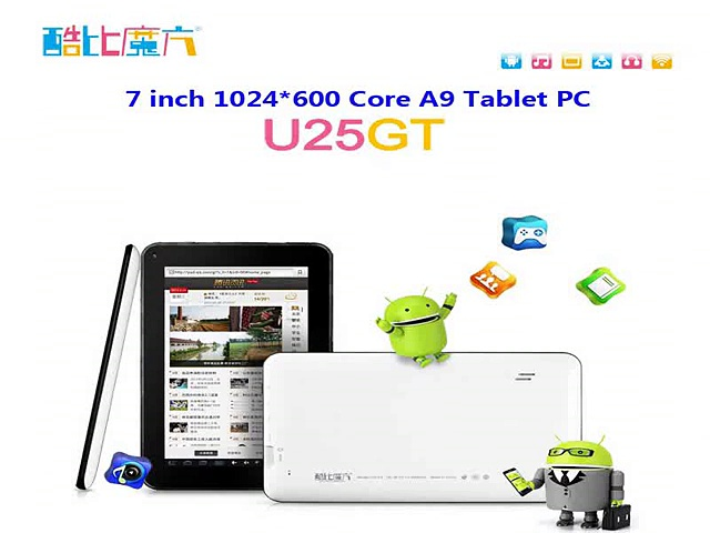 7 Inch Android Tablets Quad core 1024*600 LCD Brand CUBE WIFI BLUETOOTH 1GB+8GB Tablets PC Dual camera U25GT HDMI viedo output-in Tablet PCs from Computer