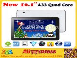 DHL Free Shipping 5pcs/lot Allwinner A33 Quad Core 10 inch Tablet PC Android 4.4 1GB RAM 8GB/16GB ROM Dual Camera Bluetooth+Gift-in Tablet PCs from Computer