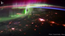 Des aurores boréales vues depuis l'espace