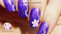 beautifull nail art tutorial Simple ribbon with flowers nail art tutorial - beauty tips for girls