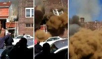 Fire Backdraft Causes Explosion