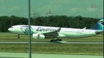 Bumpy crosswind landing: Airbus A330 Egyptair at Frankfurt | 18.07.2015  Crosswind Landing