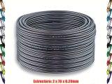 2x25mm? - 25m | DCSK HiFi Cable para altavoces | 9999% OFC cobre puro | oscuro transparente