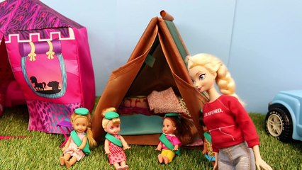 Disney Frozen Kids Girl Scout Camping with Frozen Elsa and Barbie Catches on Fire Part 1