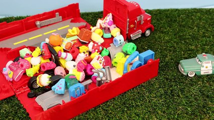 Disney Cars Mack Truck Steal Shopkins Toys Mater and Sheriff Take Lightning McQueen to Jail
